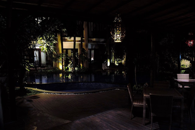 Poolside in evening