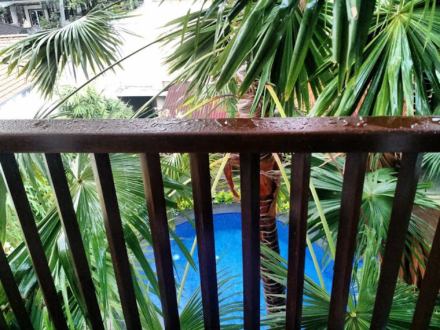 Suris' view of pool from room