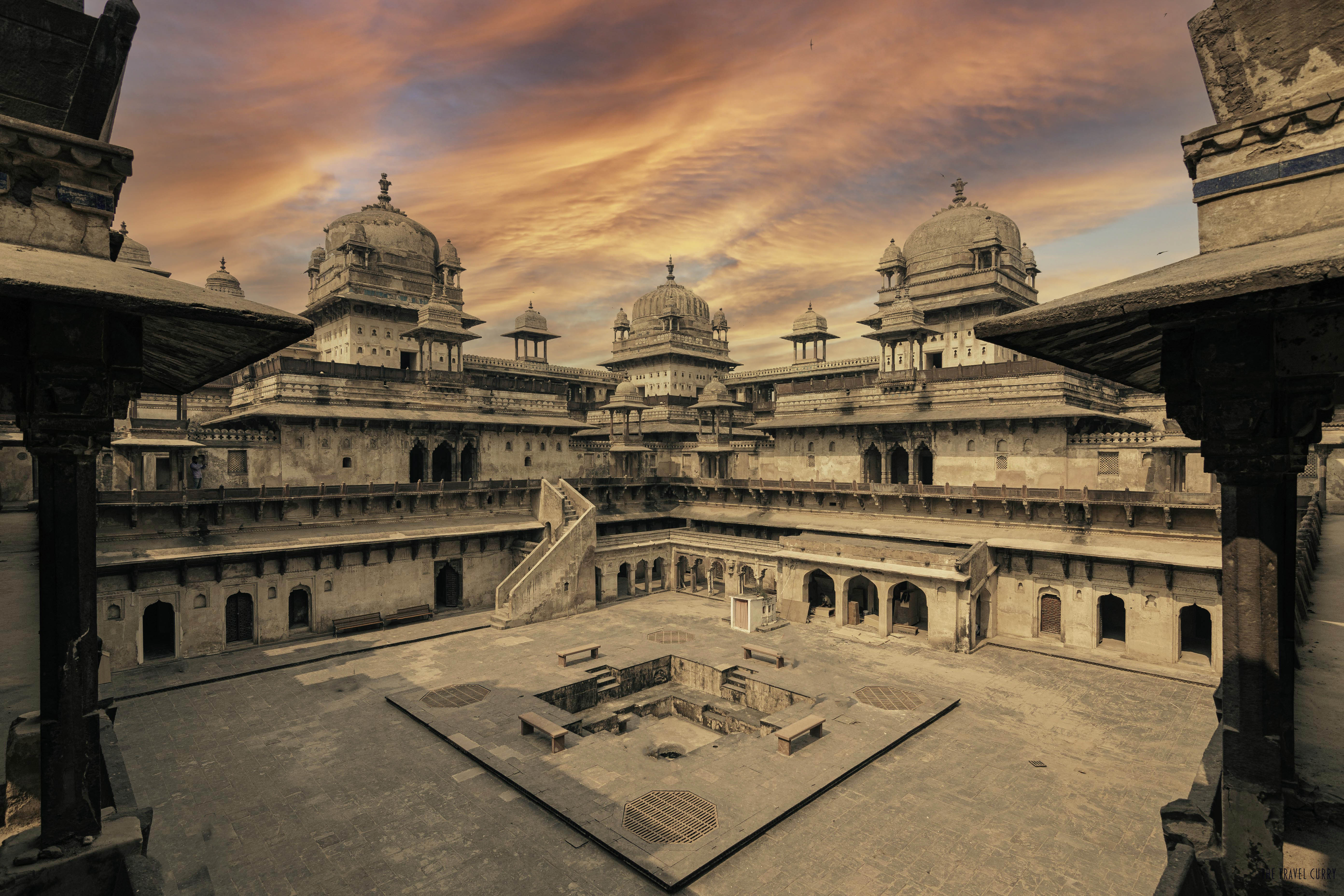 Illustrious Orchaa Fort's Jahangir Mahal Courtyard