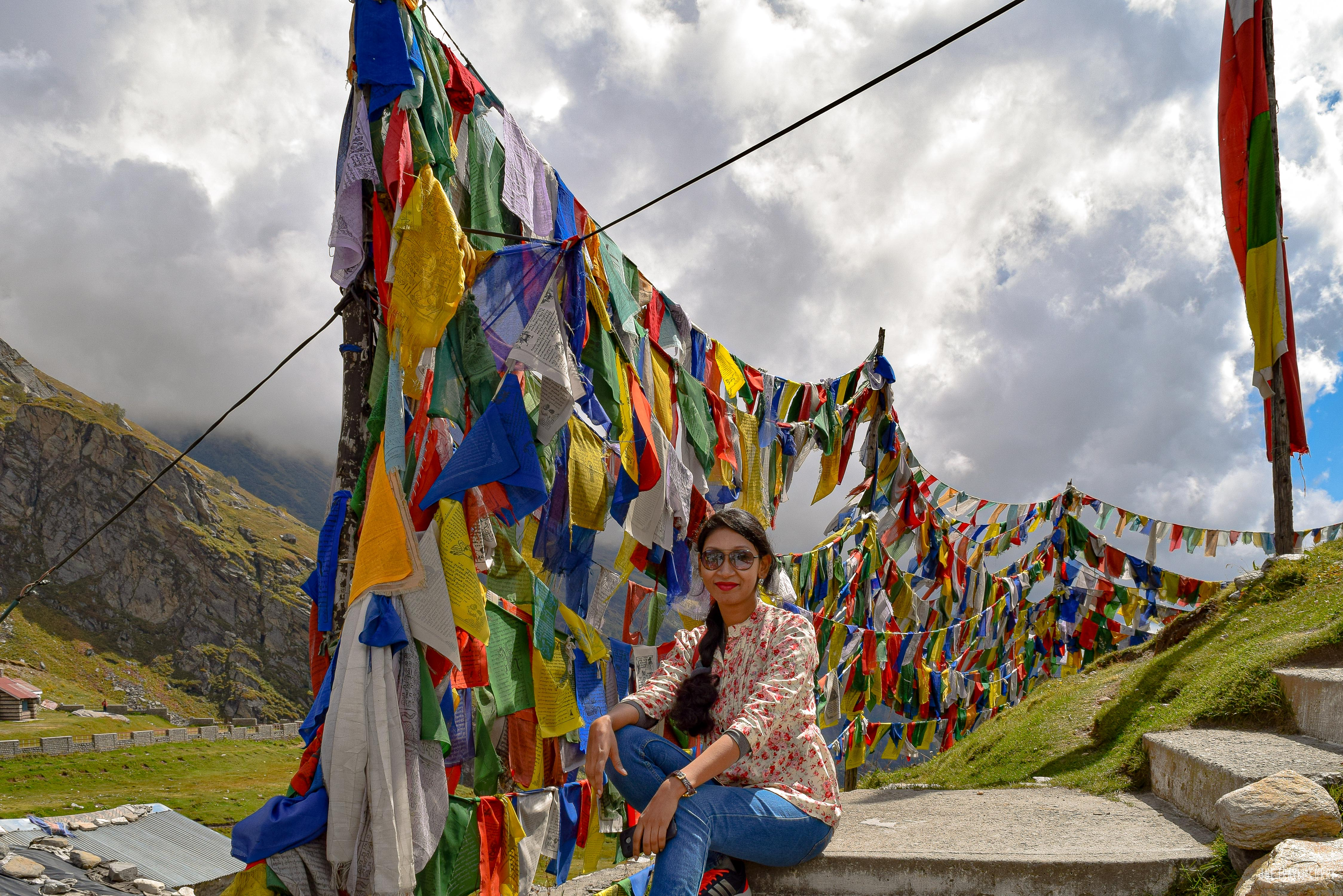 With the prayer flags